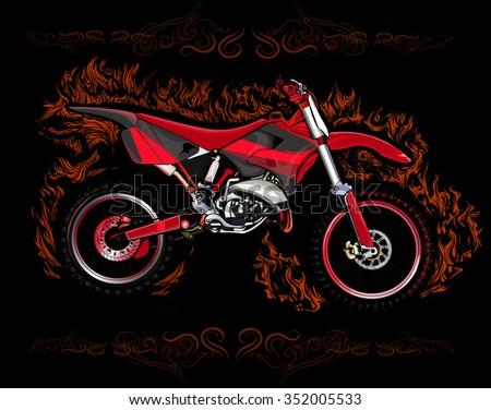 Dirt Bike Red Flames On Black Stock Vector 352005533 Shutterstock