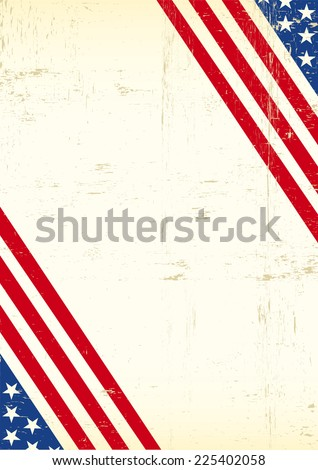 Dirty American flag super poster. A grunge greeting background of America for your event - stock vector