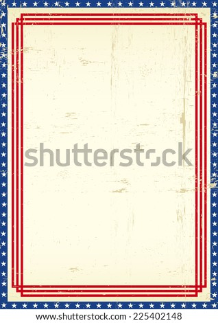 Dirty American frame. A grunge greeting poster of America for you - stock vector