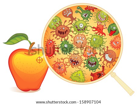 Dirty fruit, under the microscope. Vector illustration. Isolated on white background - stock vector