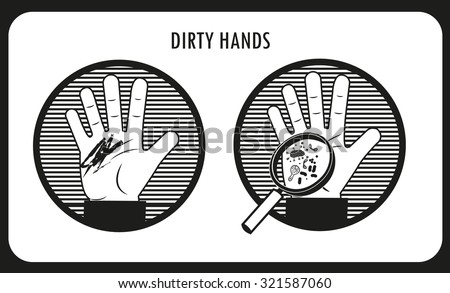 Dirty Hands. Hand Hygiene. Black & White Flat Vector Icons In The Circle. Bacteria And Infection. Human Disease. Dirt On The Skin. Dirty People. The Infection Under The Skin. - stock vector