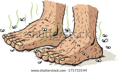 Dirty old feet - stock vector