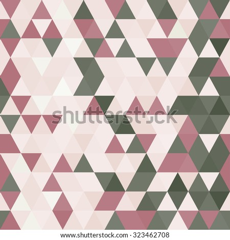 Dirty Pink colors Abstract seamless pattern. Geometric backdrop. Polygonal crystal texture. Triangular texture.  - stock vector