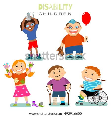 disability and special needs of children with friends vector set cartoon illustration