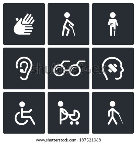 Disability Icons Set - stock vector