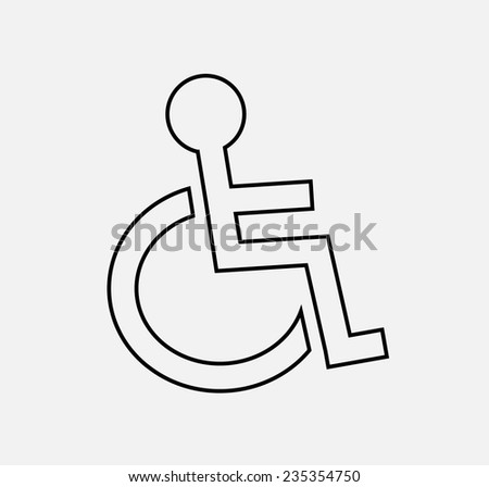 disability outline icon vector - stock vector