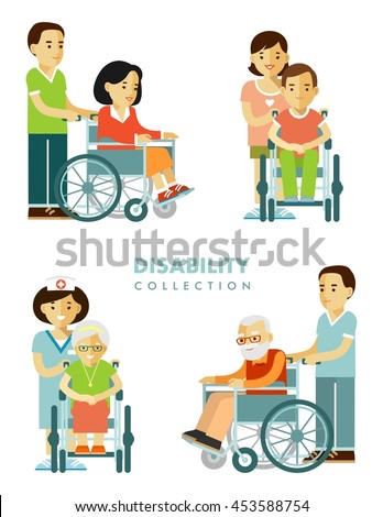 Disability persons set. Young and old disabled people in wheelchairs with nurse isolated on white background