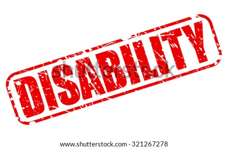 DISABILITY red stamp text on white - stock vector