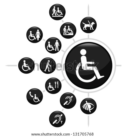 Disability related icon set isolated on white background - stock vector