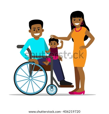 Disabled african man in wheelchair with his family. Happy father, mother and son. Cartoon vector characters in isolated background. Concept for lifestyle and opportunities for people with disability - stock vector