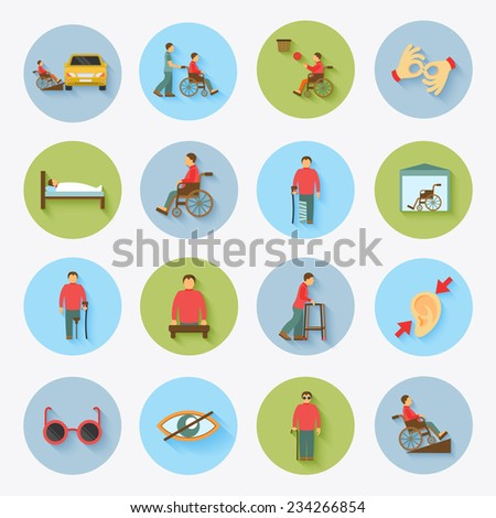 Disabled blind and deaf people care help assistance and accessibility flat icons set isolated vector illustration - stock vector