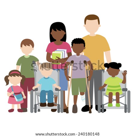 disabled children with friends and teacher - stock vector