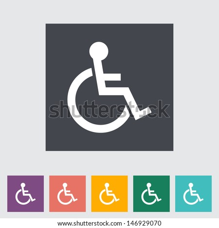 Disabled flat single icon. Vector illustration. - stock vector
