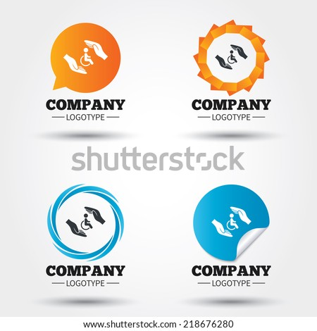 Disabled human insurance sign icon. Hands protect wheelchair man symbol. Health insurance. Business abstract circle logos. Icon in speech bubble, wreath. Vector - stock vector