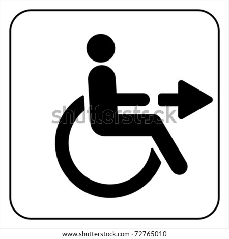 disabled icon sign, isolated on white, vector - stock vector