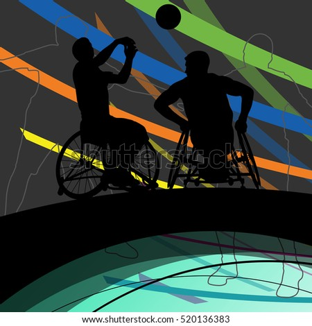 Disabled men basketball players in a wheelchair detailed sport concept silhouette illustration background vector