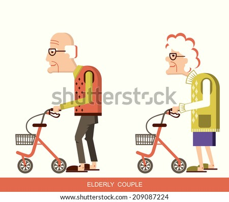 Disabled old man and old woman with walkers.Vector illustration isolated  - stock vector