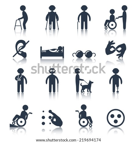Disabled people care assistance and facilities black icons set isolated vector illustration - stock vector
