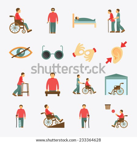 Disabled people care help assistance and accessibility flat icons set isolated vector illustration - stock vector