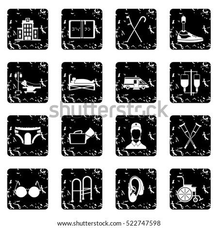 Disabled people care set icons in grunge style isolated on white background. Vector illustration