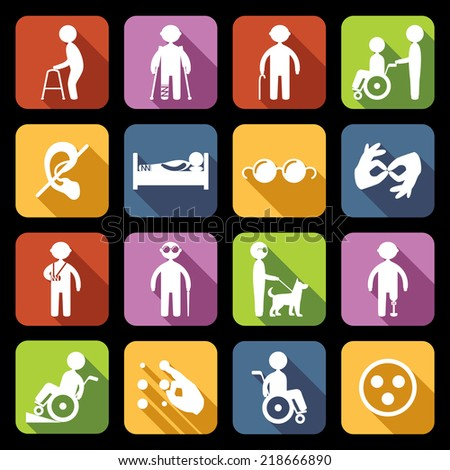 Disabled people help flat icons set isolated vector illustration - stock vector