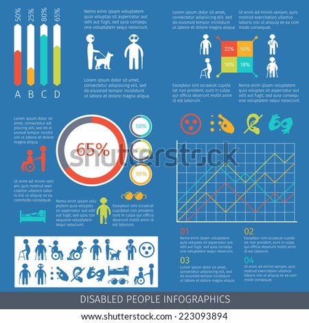 Disabled people infographic set with charts and disability symbols vector illustration