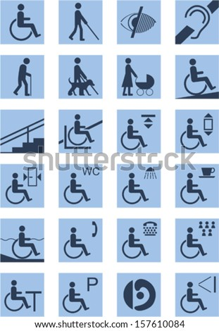 disabled people signs vector  - stock vector