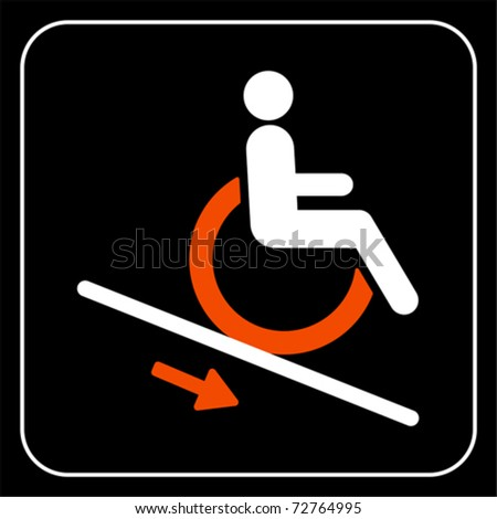 Disabled People Wheelchair Ramp Icon Sign Stock Illustration ...