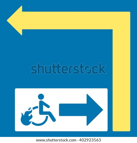 Disabled Person Fire Exit Turn Left vector illustration. Style is bicolor yellow and white flat symbols on a blue background.