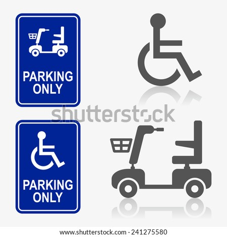 Disabled person icon set - stock vector