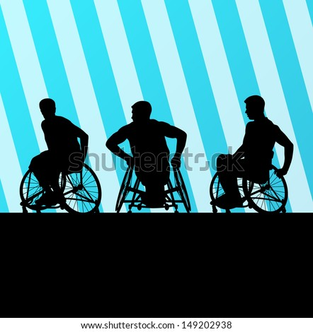 Disabled person in wheelchair vector background concept - stock vector