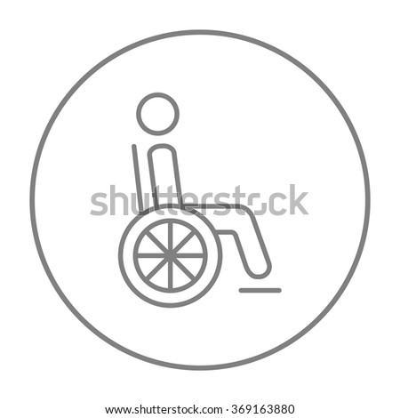 Disabled person line icon. - stock vector