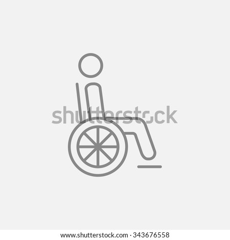 Disabled person sitting in the wheelchair line icon for web, mobile and infographics. Vector dark grey icon isolated on light grey background. - stock vector