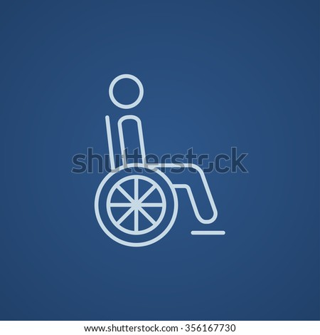 Disabled person sitting in the wheelchair line icon for web, mobile and infographics. Vector light blue icon isolated on blue background. - stock vector