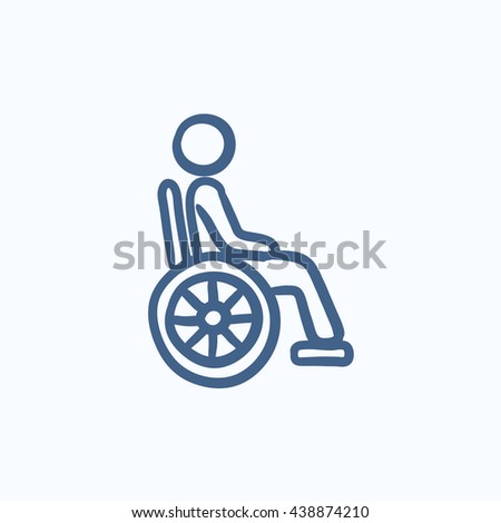 Disabled person vector sketch icon isolated on background. Hand drawn Disabled person icon. Disabled person sketch icon for infographic, website or app. - stock vector