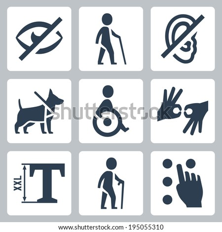 Disabled related vector icons set - stock vector