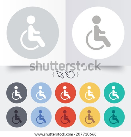 Disabled sign icon. Human on wheelchair symbol. Handicapped invalid sign. Round 12 circle buttons. Shadow. Hand cursor pointer. Vector - stock vector