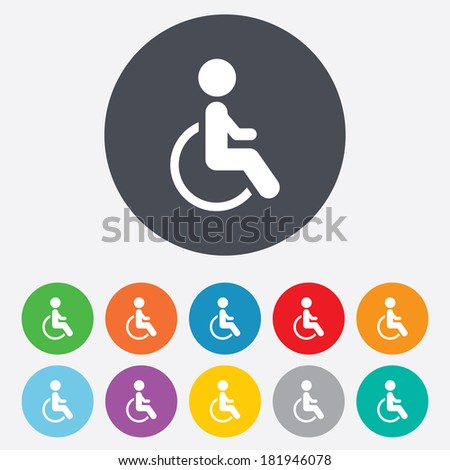 Disabled sign icon. Human on wheelchair symbol. Handicapped invalid sign. Round colourful 11 buttons. Vector - stock vector