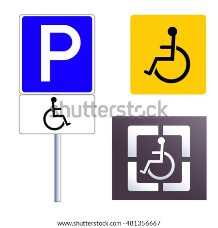 Disabled sign icon set. Vector illustration, isolated on white