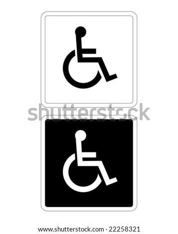 Disabled Sign in Black and White - stock vector