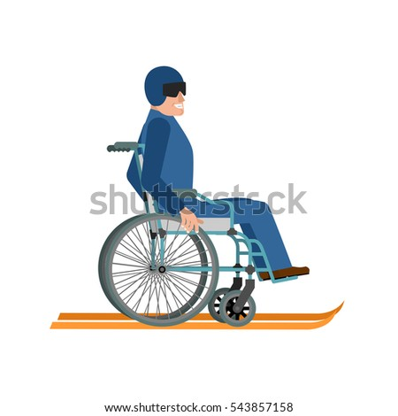 Disabled skiing isolated. Wheelchair ski running on white backgroubd