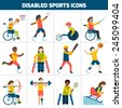 Disabled sports design concept with handicapped people playing football fencing cycling icons set isolated vector illustration - stock photo