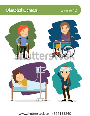 Disabled woman and ill woman vector characters - stock vector