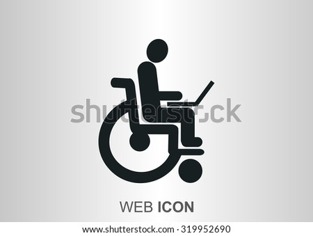 disabled working in Internet, Web icon. vector design - stock vector