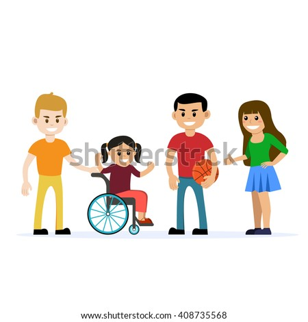 Disabled young girl in wheelchair playing and having fun with her friends. Cartoon vector characters. Isolated background. Concept for lifestyle and opportunities for people with disability - stock vector