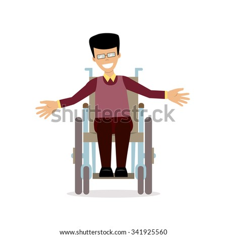 Disabled young man in wheelchair smiling and greeting. Flat character in isolated background. Vector. Concept for lifestyle and adaptation for people with disability. - stock vector