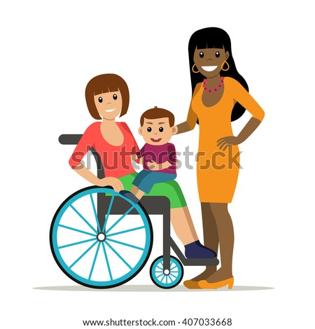 Disabled young woman in wheelchair with baby and girlfriend. Same-sex family. Cartoon vector characters in isolated background. Concept for lifestyle and opportunities for people with disability. - stock vector