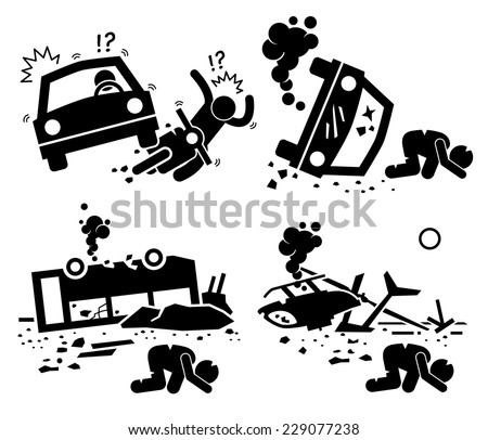 Disaster Accident Tragedy of Car Motorcycle Collision, Bus Crash, and Helicopter Mishap Stick Figure Pictogram Icons - stock vector