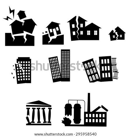Disaster icon collection or earthquake vector set - stock vector