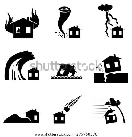 Disaster icon collection or vector set - stock vector